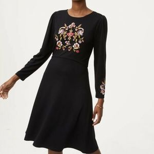 Ann Taylor Black Embroidered Fit & Flare Dress 8P